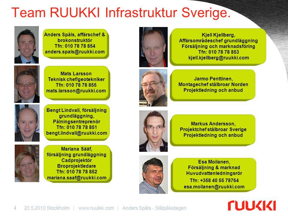 20.5.2010 Stockholm | www.ruukki.com | Anders Spåls - Stålpåledagen5 Praktiska frågor kring arrangemanget… Moderator & guide Anders Spåls • Vänligen respektera tiderna.