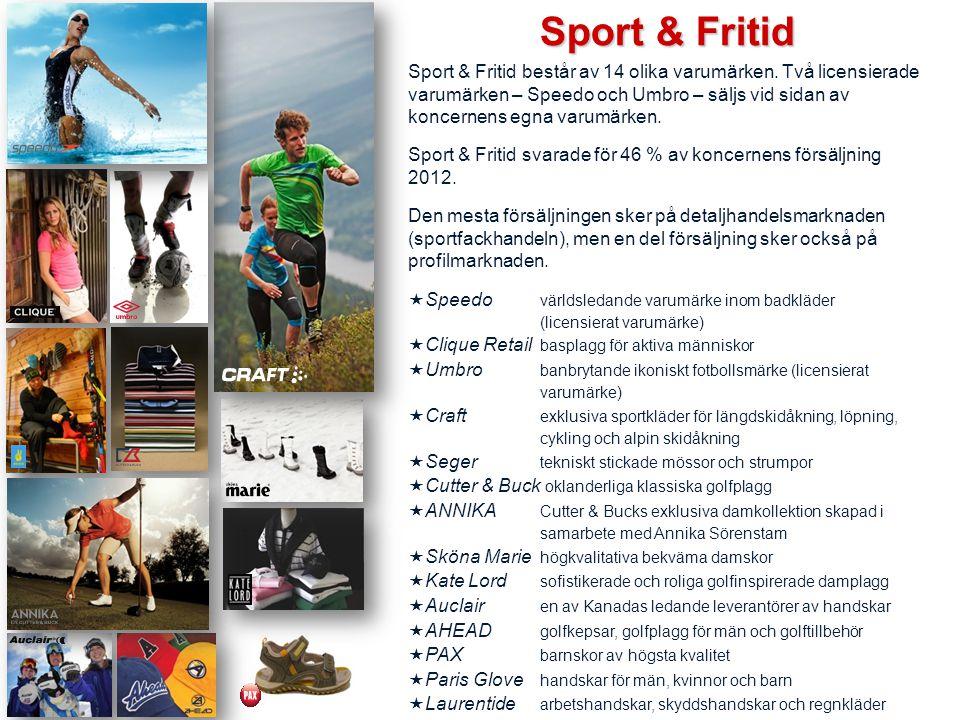 Sport & Fritid består av 14 olika varumärken. Två licensierade varumärken – Speedo och Umbro – säljs vid sidan av koncernens egna varumärken. Sport &