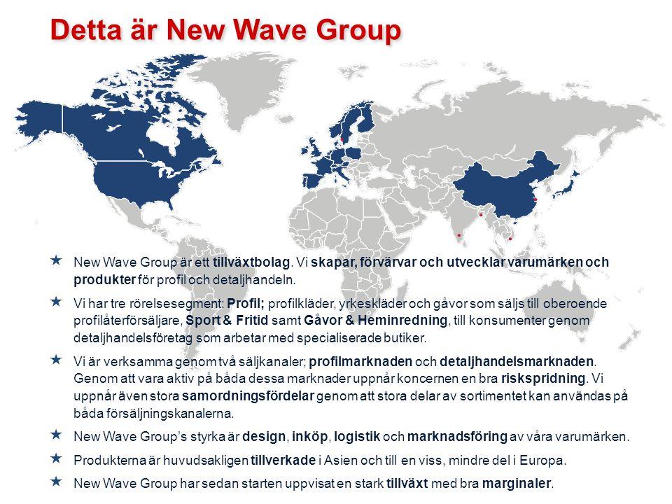  New Wave Group är ett tillväxtbolag. Vi skapar, förvärvar och utvecklar varumärken och produkter för profil och detaljhandeln.  Vi har tre rörelses