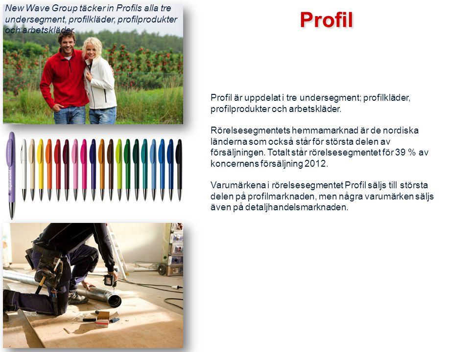 Profil Profil är uppdelat i tre undersegment; profilkläder, profilprodukter och arbetskläder. Rörelsesegmentets hemmamarknad är de nordiska länderna s