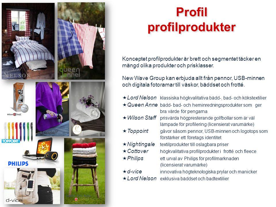 Profil profilprodukter Profil profilprodukter Konceptet profilprodukter är brett och segmentet täcker en mängd olika produkter och prisklasser. New Wa