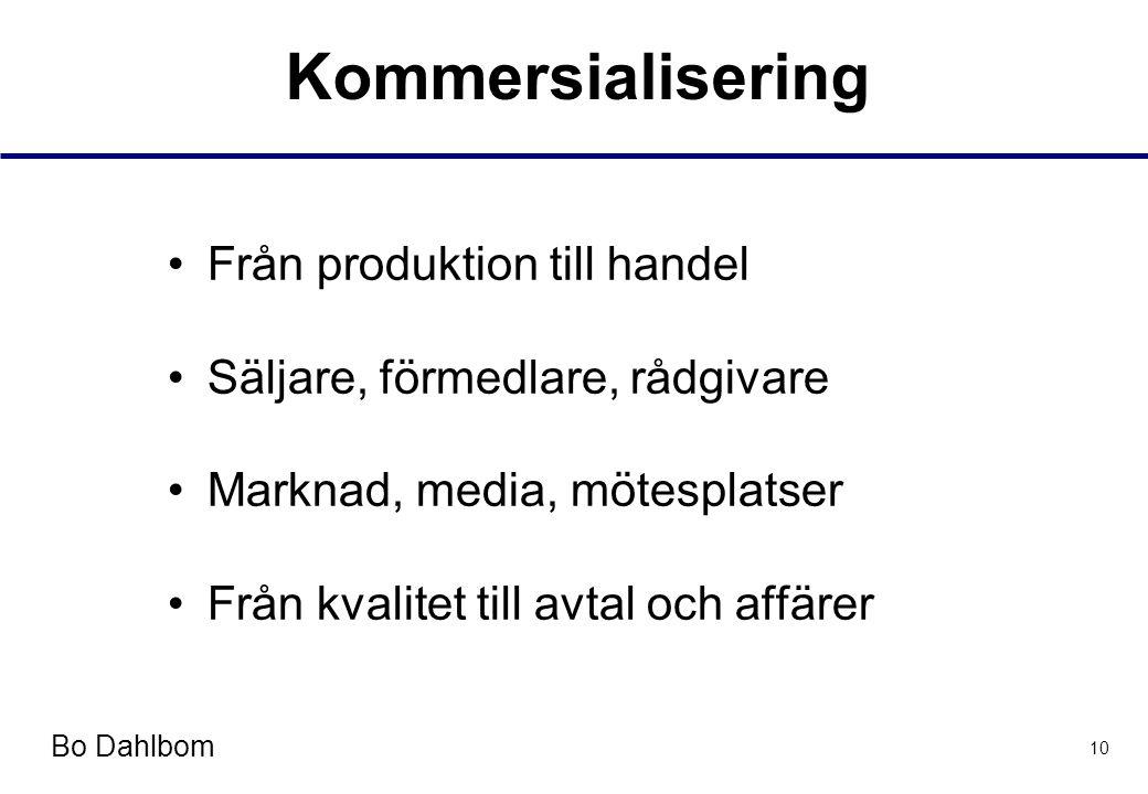 Bo Dahlbom 10 Kommersialisering •Från produktion till handel •Säljare, förmedlare, rådgivare •Marknad, media, mötesplatser •Från kvalitet till avtal och affärer