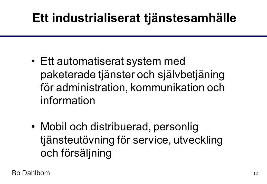Bo Dahlbom 12 Ett industrialiserat tjänstesamhälle •Ett automatiserat system med paketerade tjänster och självbetjäning för administration, kommunikation och information •Mobil och distribuerad, personlig tjänsteutövning för service, utveckling och försäljning