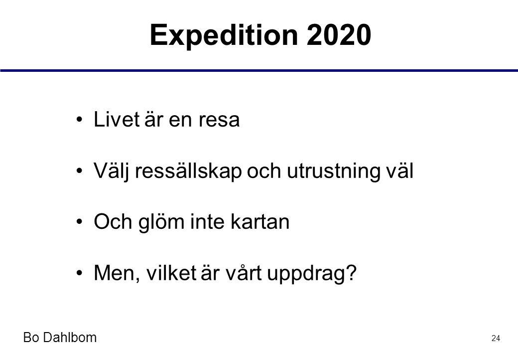 Bo Dahlbom 24 Expedition 2020 •Livet är en resa •Välj ressällskap och utrustning väl •Och glöm inte kartan •Men, vilket är vårt uppdrag