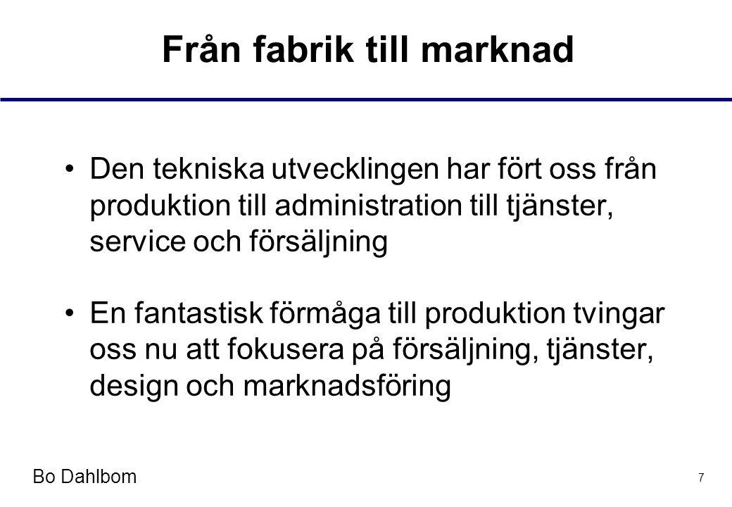 Bo Dahlbom 7 Från fabrik till marknad •Den tekniska utvecklingen har fört oss från produktion till administration till tjänster, service och försäljning •En fantastisk förmåga till produktion tvingar oss nu att fokusera på försäljning, tjänster, design och marknadsföring