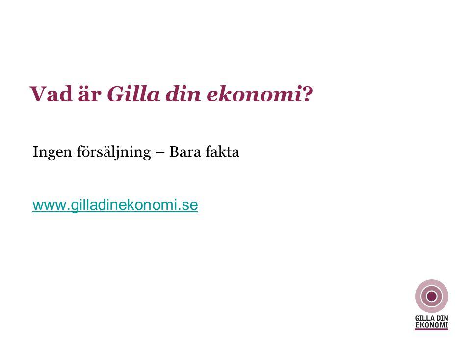 Vad är Gilla din ekonomi? Ingen försäljning – Bara fakta www.gilladinekonomi.se