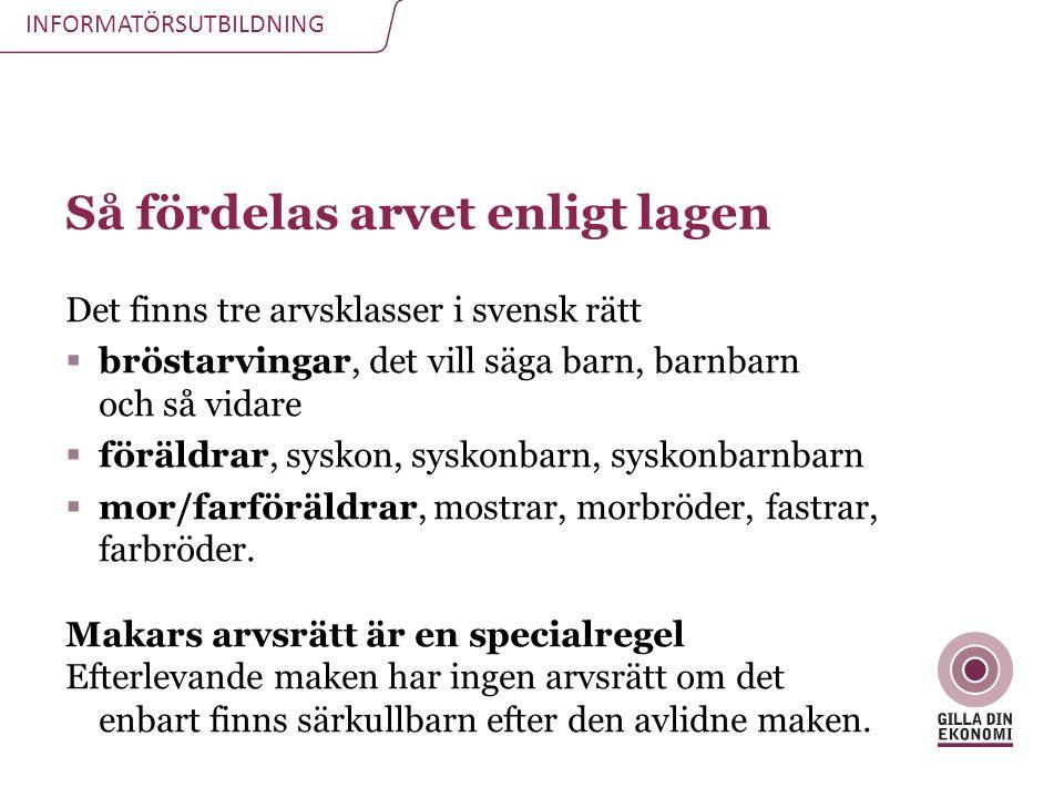 INFORMATÖRSUTBILDNING Så fördelas arvet enligt lagen Det finns tre arvsklasser i svensk rätt  bröstarvingar, det vill säga barn, barnbarn och så vida