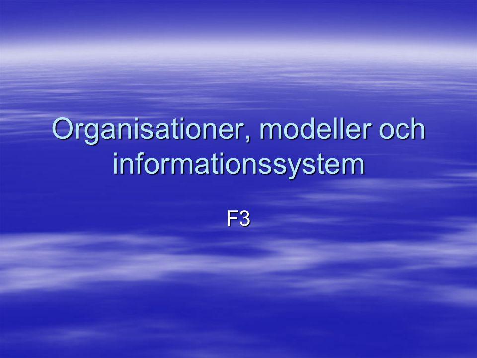 Organisationer, modeller och informationssystem F3
