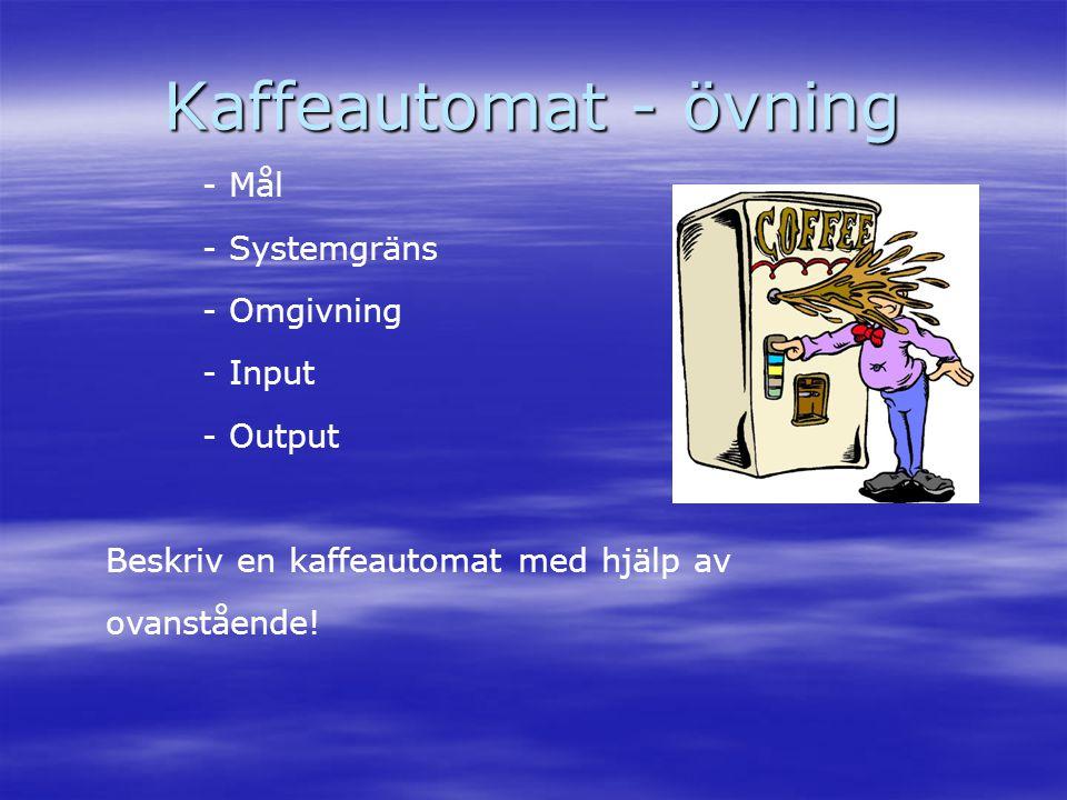 Kaffeautomat - övning - Mål - Systemgräns - Omgivning - Input - Output Beskriv en kaffeautomat med hjälp av ovanstående!
