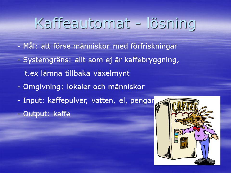 Kaffeautomat - lösning - Mål: att förse människor med förfriskningar - Systemgräns: allt som ej är kaffebryggning, t.ex lämna tillbaka växelmynt - Omg