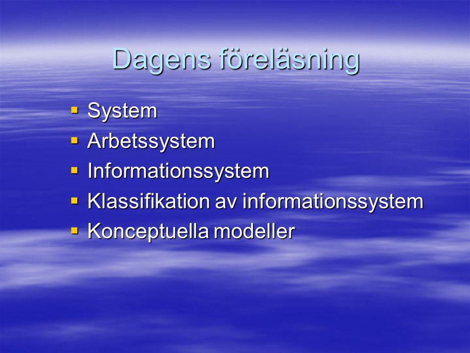 Dagens föreläsning  System  Arbetssystem  Informationssystem  Klassifikation av informationssystem  Konceptuella modeller