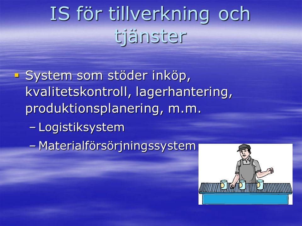 IS för tillverkning och tjänster  System som stöder inköp, kvalitetskontroll, lagerhantering, produktionsplanering, m.m. –Logistiksystem –Materialför