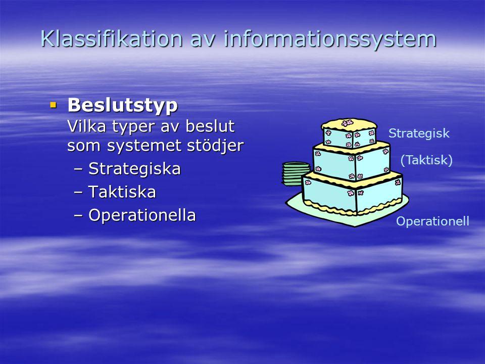 Klassifikation av informationssystem  Beslutstyp Vilka typer av beslut som systemet stödjer –Strategiska –Taktiska –Operationella Operationell (Takti