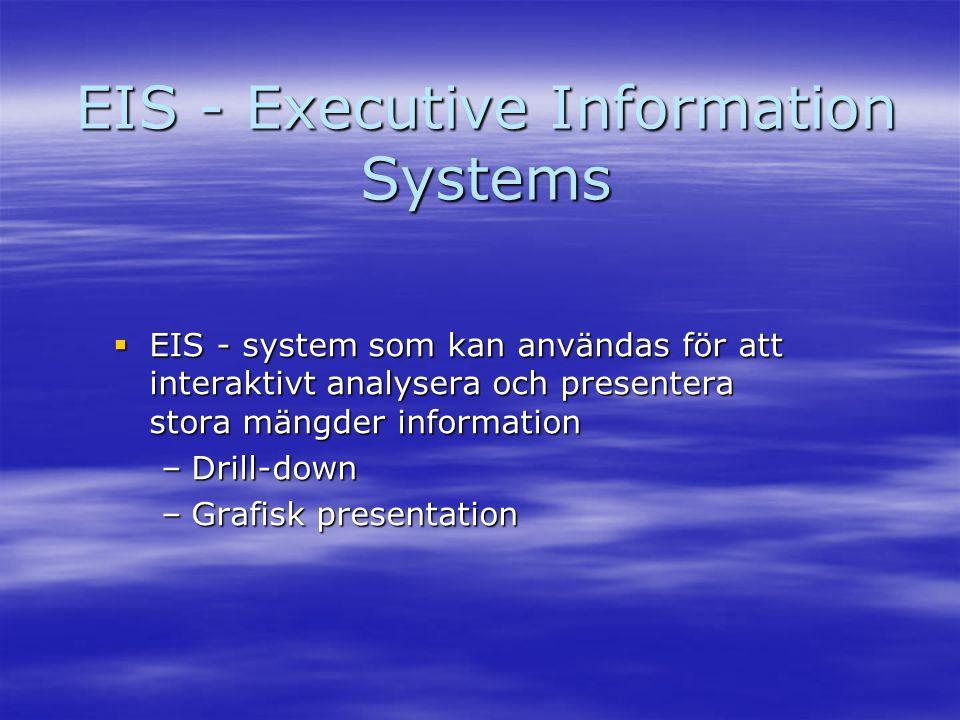 EIS - Executive Information Systems  EIS - system som kan användas för att interaktivt analysera och presentera stora mängder information –Drill-down