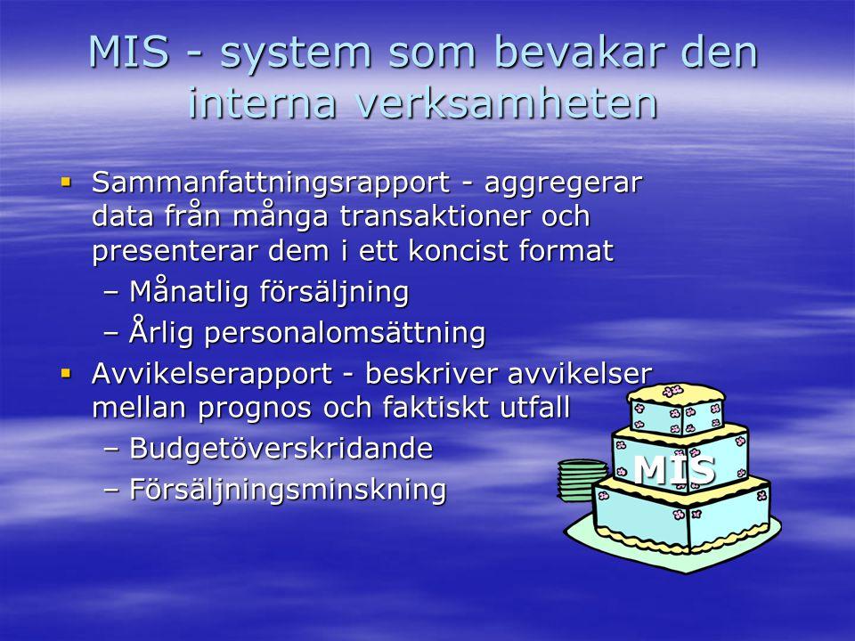 MIS - system som bevakar den interna verksamheten  Sammanfattningsrapport - aggregerar data från många transaktioner och presenterar dem i ett koncis