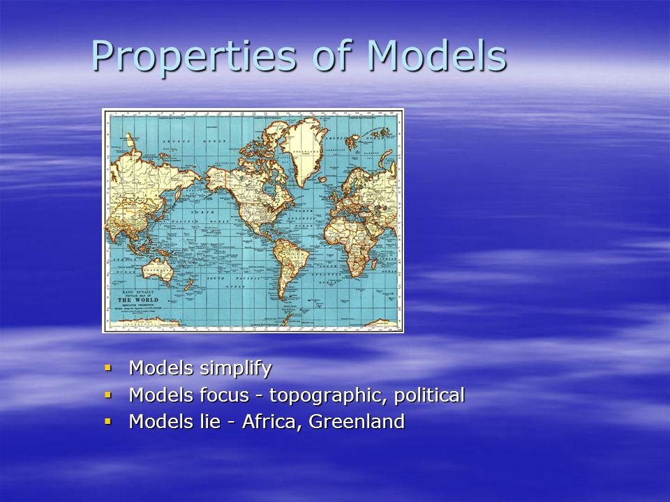 Properties of Models  Models simplify  Models focus - topographic, political  Models lie - Africa, Greenland