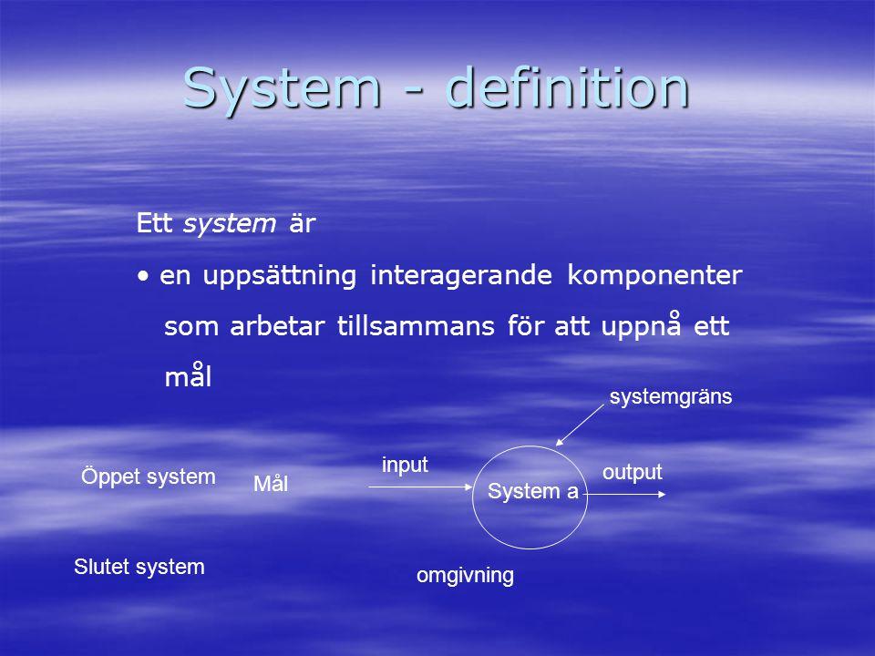 System - definition Ett system är • en uppsättning interagerande komponenter som arbetar tillsammans för att uppnå ett mål System a input output syste