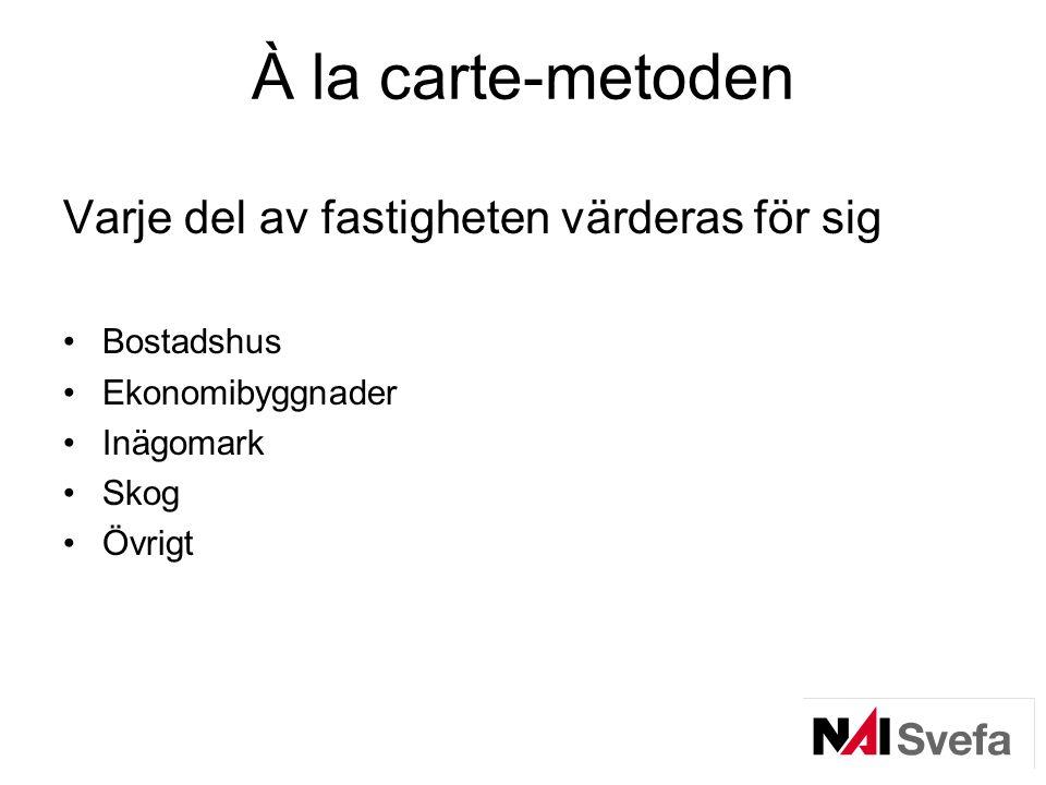 À la carte-metoden Varje del av fastigheten värderas för sig •Bostadshus •Ekonomibyggnader •Inägomark •Skog •Övrigt