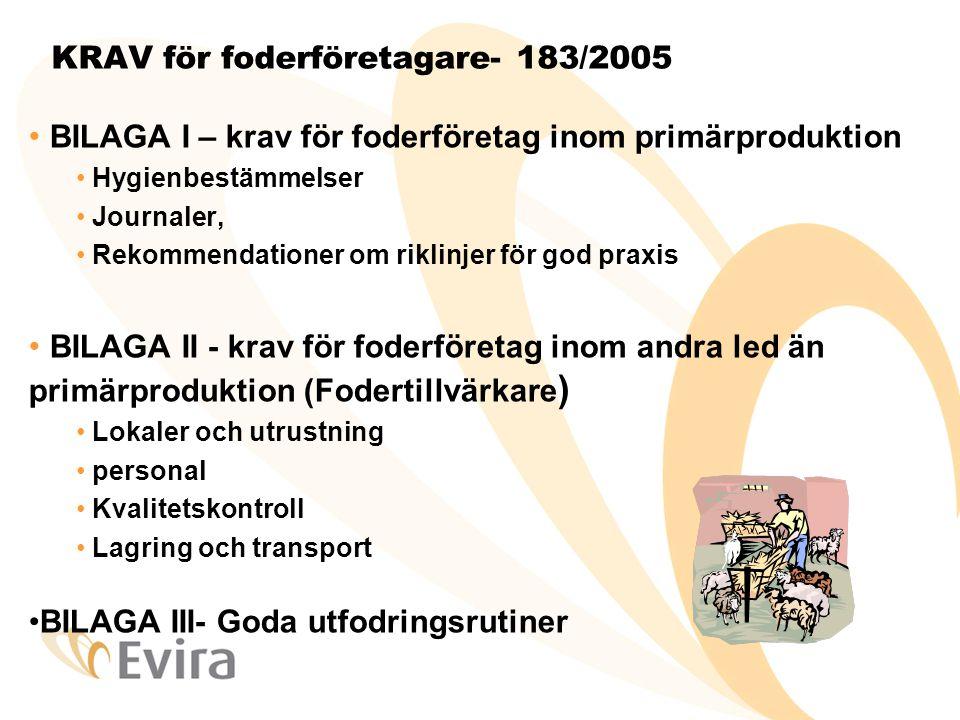 KRAV för foderföretagare- 183/2005 • BILAGA I – krav för foderföretag inom primärproduktion • Hygienbestämmelser • Journaler, • Rekommendationer om ri