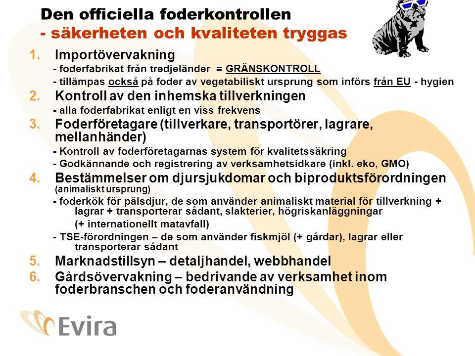 Evira är den behöriga myndigheten i foderärenden Foderlagen 396/1998 • Foder för produktions- och sällskapsdjur • Också pälsdjur, hästar och fiskar är produktionsdjur • Jfr djur som hålls för livsm.produktion inkl.