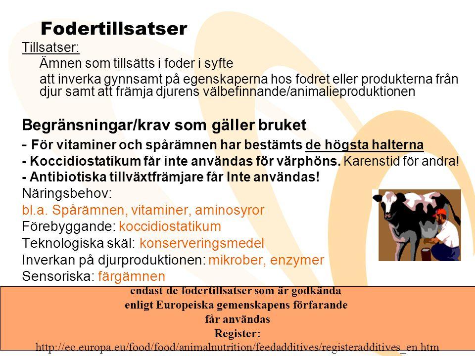 KRAV för foderföretagare- 183/2005 • BILAGA I – krav för foderföretag inom primärproduktion • Hygienbestämmelser • Journaler, • Rekommendationer om riklinjer för god praxis • BILAGA II - krav för foderföretag inom andra led än primärproduktion (Fodertillvärkare ) • Lokaler och utrustning • personal • Kvalitetskontroll • Lagring och transport •BILAGA III- Goda utfodringsrutiner