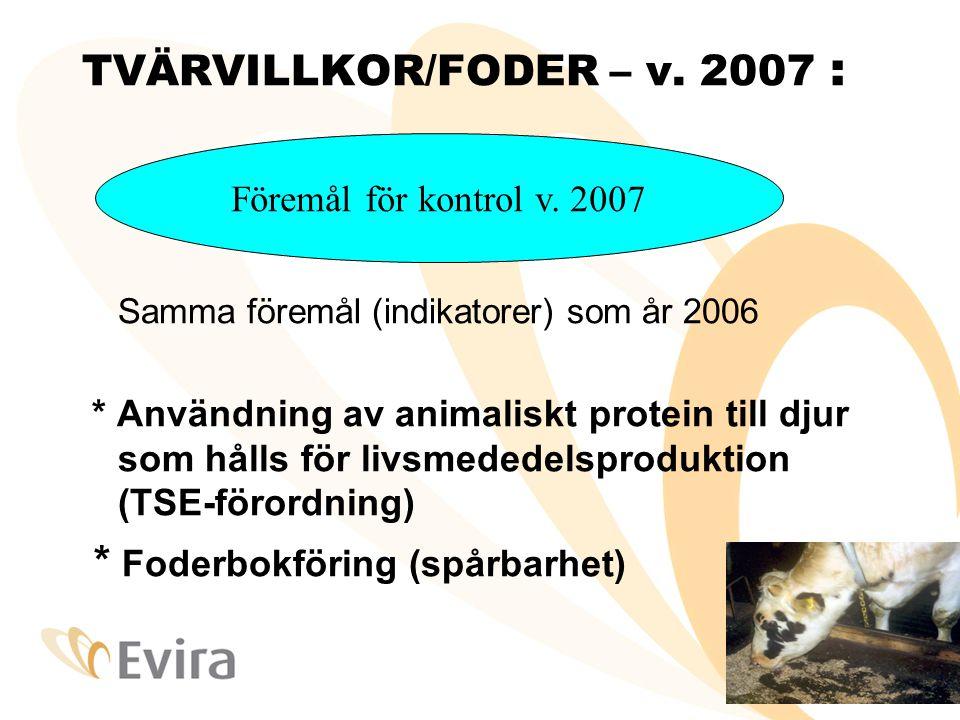 TVÄRVILLKOR-foder Indikatorer •Indikator 1 : Gården använder inte animaliskt protein som det är förbjudet att ge till djur: ( Indikator 1 kan inte fyllas i på gården – först efter analysen ) •Indikator 2 : Det har säkerställts att varje djurslag får enbart foder som är avsett för det •Indikator 3 : Skyldigheten att anteckna uppgifter om foder som anlänt till/avsänts från gården har fullgjorts •Bedömning av överträdelse, upprepandet •Indikatorer förs in i tillämpningen