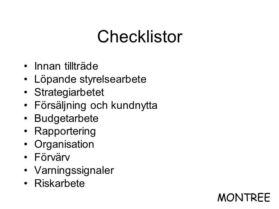 Checklistor •Innan tillträde •Löpande styrelsearbete •Strategiarbetet •Försäljning och kundnytta •Budgetarbete •Rapportering •Organisation •Förvärv •V