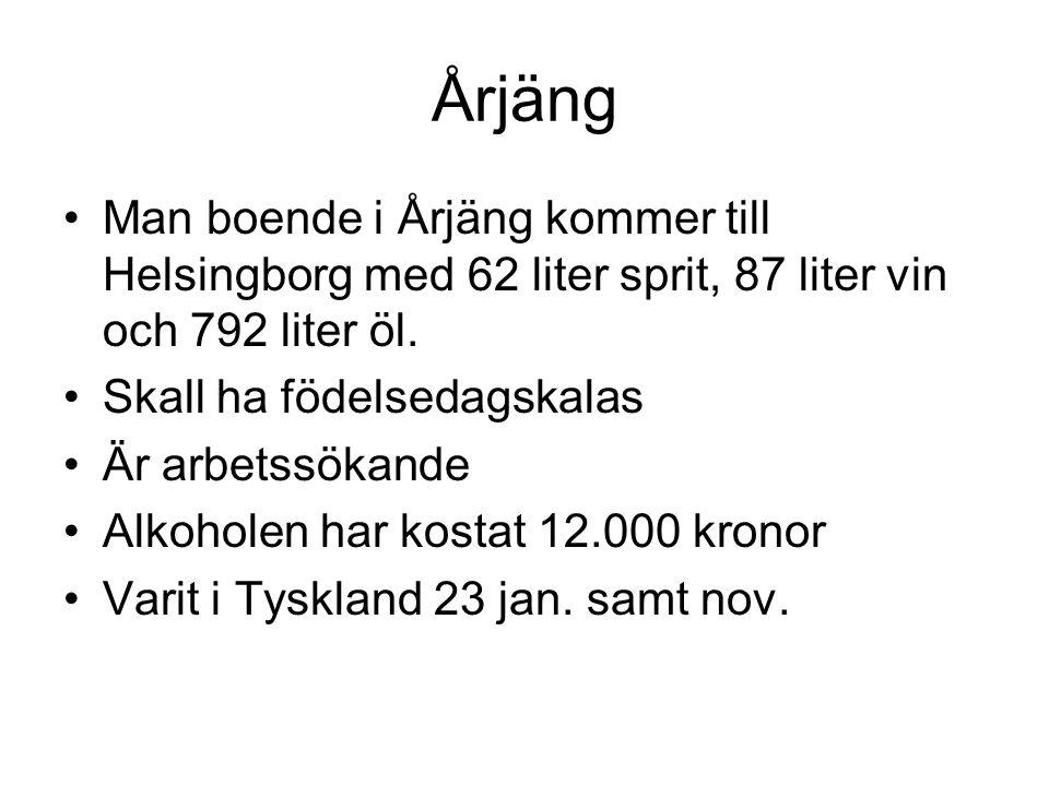 Årjäng •Man boende i Årjäng kommer till Helsingborg med 62 liter sprit, 87 liter vin och 792 liter öl. •Skall ha födelsedagskalas •Är arbetssökande •A