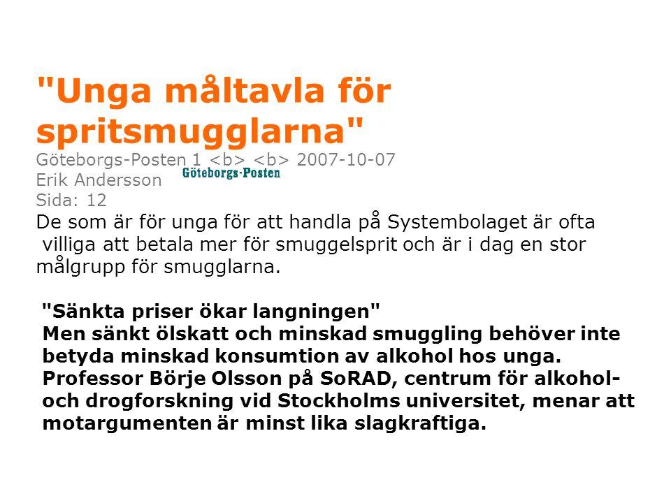 Unga måltavla för spritsmugglarna Göteborgs-Posten 1 2007-10-07 Erik Andersson Sida: 12 De som är för unga för att handla på Systembolaget är ofta villiga att betala mer för smuggelsprit och är i dag en stor målgrupp för smugglarna.