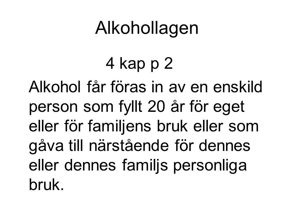 Alkohollagen 4 kap p 2 Alkohol får föras in av en enskild person som fyllt 20 år för eget eller för familjens bruk eller som gåva till närstående för