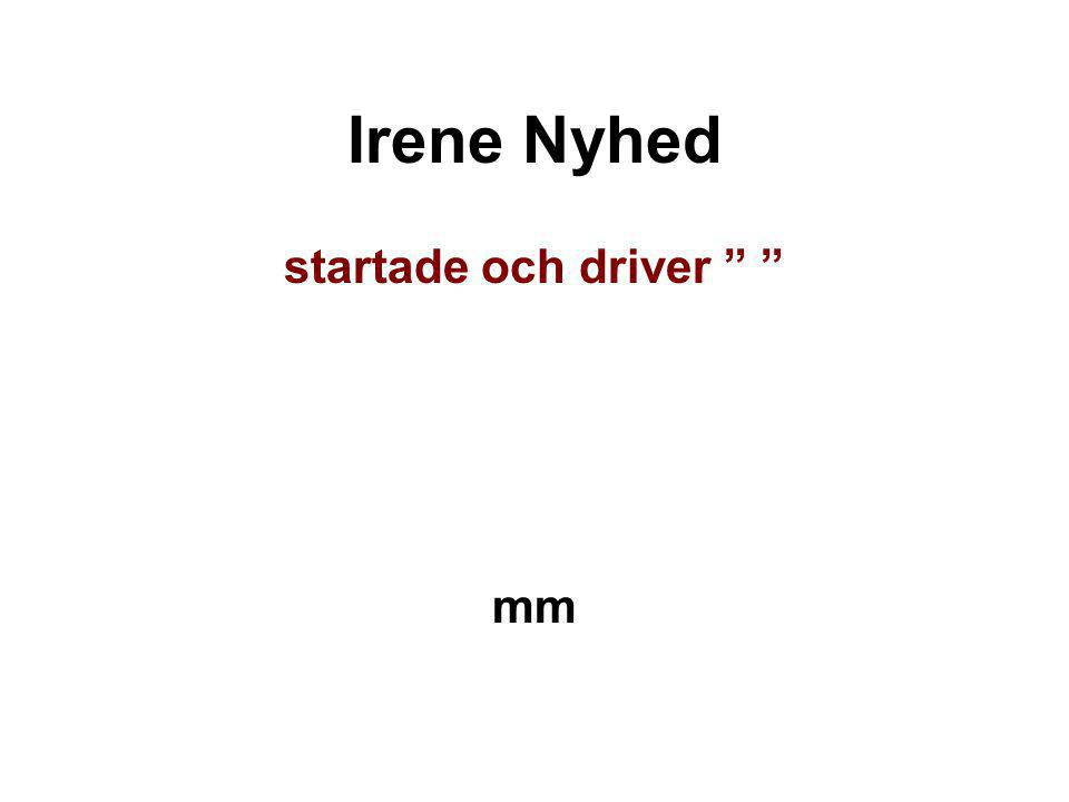"""Irene Nyhed startade och driver """" """" mm"""