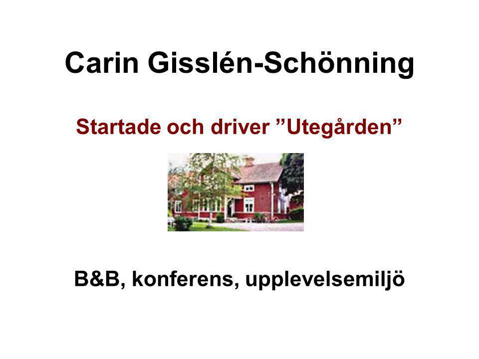 """Carin Gisslén-Schönning Startade och driver """"Utegården"""" B&B, konferens, upplevelsemiljö"""