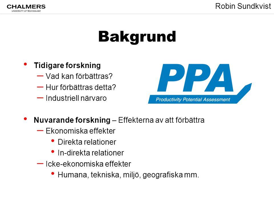 Robin Sundkvist Mål • Förstå ekonomiska effekter av produktivitetsförbättringar (inom ramen för produktion) • Utveckla ett beslutsstöd verktyg för produktivitetsförbättringar • Översätta kunskapen till policys (lätt att förstå, lätt att använda) %$