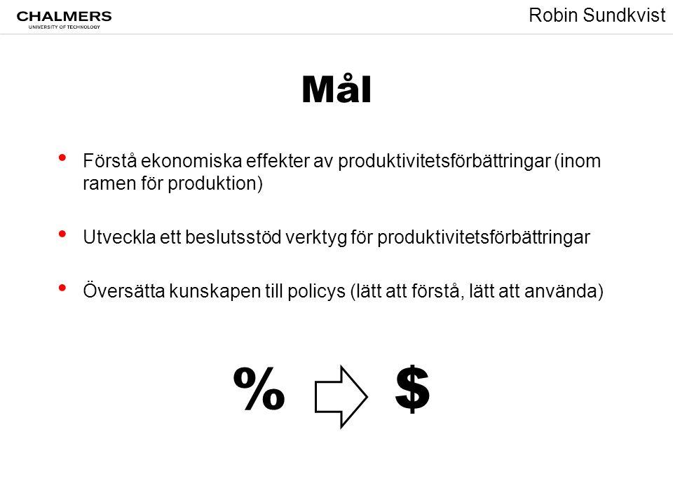 Robin Sundkvist Mål • Förstå ekonomiska effekter av produktivitetsförbättringar (inom ramen för produktion) • Utveckla ett beslutsstöd verktyg för pro