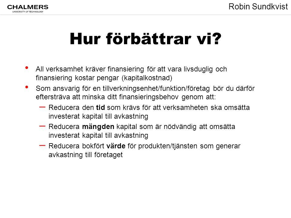 Robin Sundkvist Hur förbättrar vi? • All verksamhet kräver finansiering för att vara livsduglig och finansiering kostar pengar (kapitalkostnad) • Som