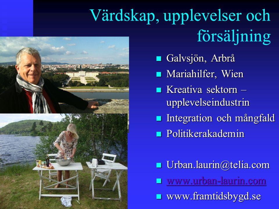 Värdskap, upplevelser och försäljning n-n-n-n- n Galvsjön, Arbrå n Mariahilfer, Wien n Kreativa sektorn – upplevelseindustrin n Integration och mångfald n Politikerakademin n Urban.laurin@telia.com n www.urban-laurin.com www.urban-laurin.com n www.framtidsbygd.se