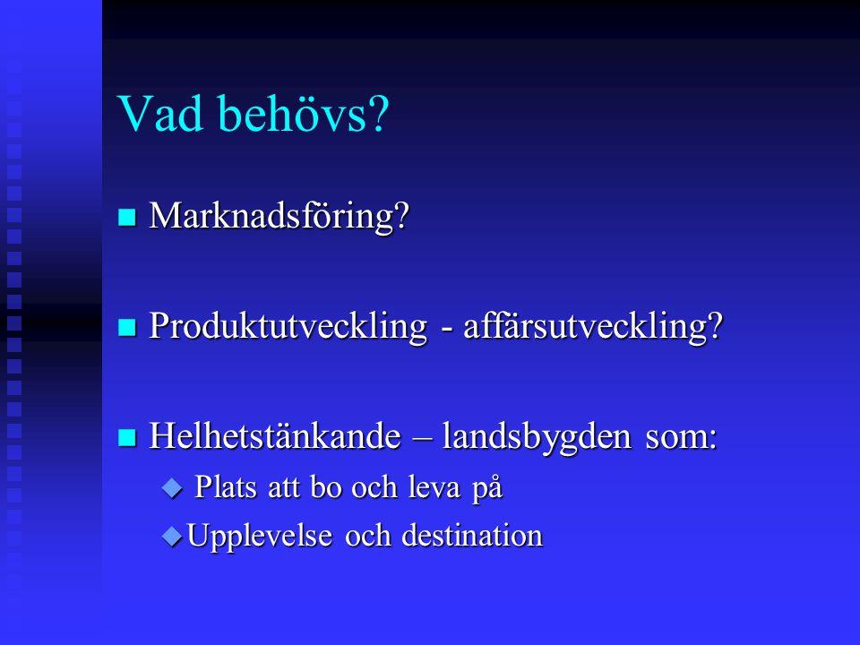 Vad behövs.n Marknadsföring. n Produktutveckling - affärsutveckling.