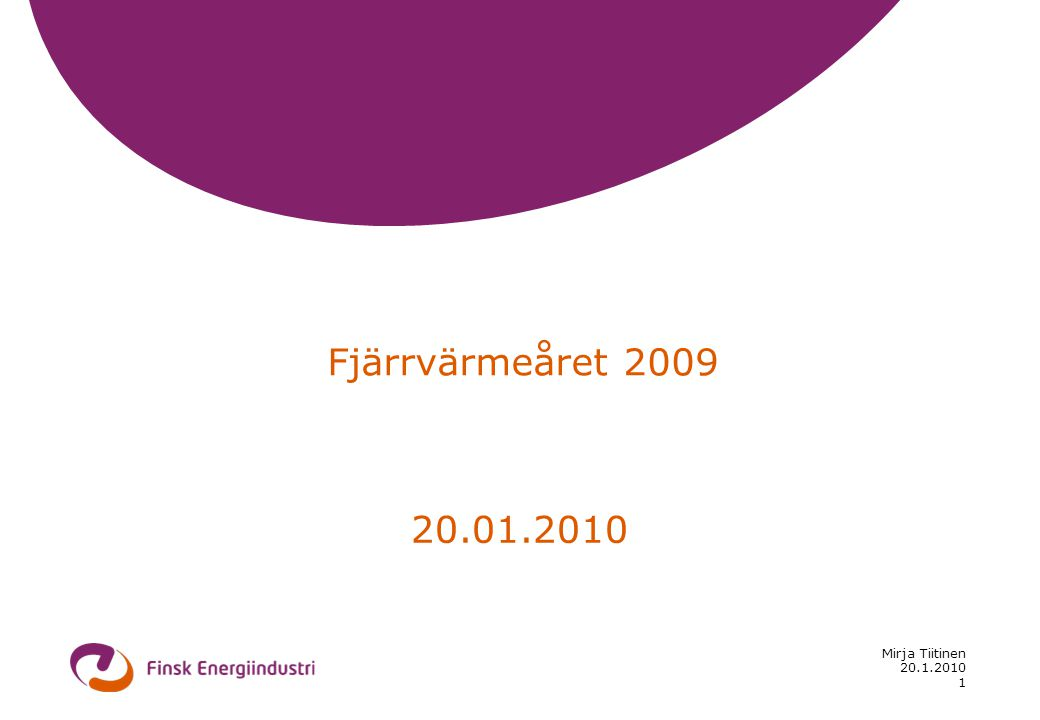 20.1.2010 Mirja Tiitinen 1 Fjärrvärmeåret 2009 20.01.2010