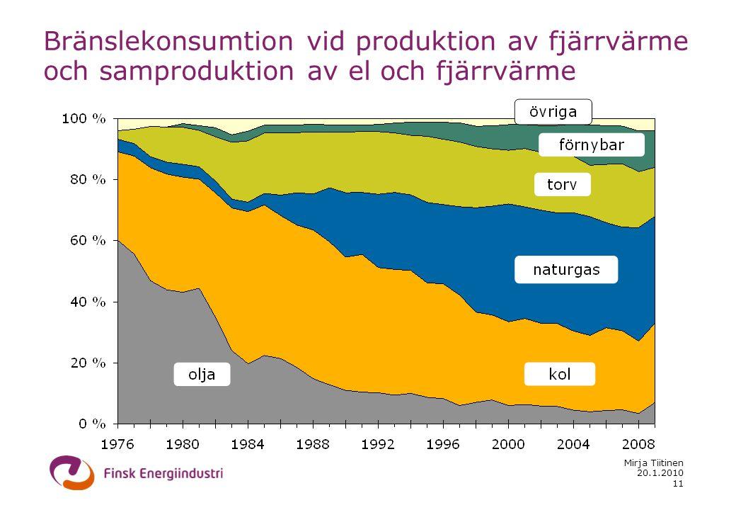 20.1.2010 Mirja Tiitinen 11 Bränslekonsumtion vid produktion av fjärrvärme och samproduktion av el och fjärrvärme