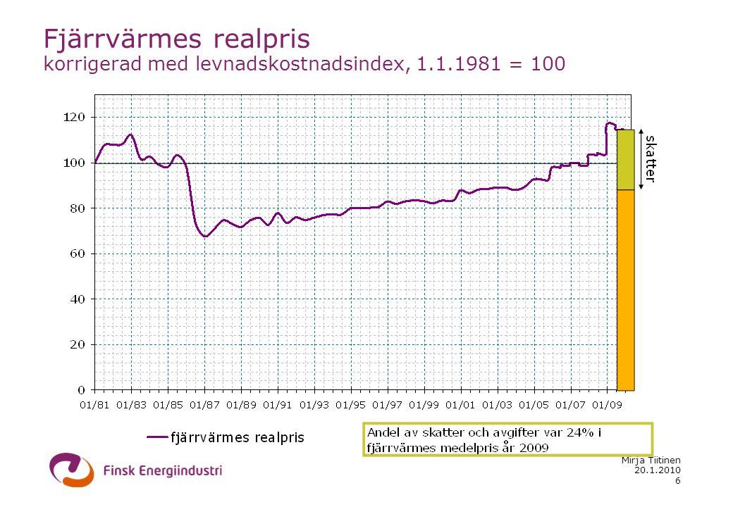 20.1.2010 Mirja Tiitinen 6 Fjärrvärmes realpris korrigerad med levnadskostnadsindex, 1.1.1981 = 100