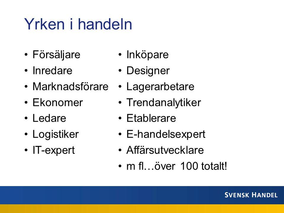 •Försäljare •Inredare •Marknadsförare •Ekonomer •Ledare •Logistiker •IT-expert •Inköpare •Designer •Lagerarbetare •Trendanalytiker •Etablerare •E-handelsexpert •Affärsutvecklare •m fl…över 100 totalt.
