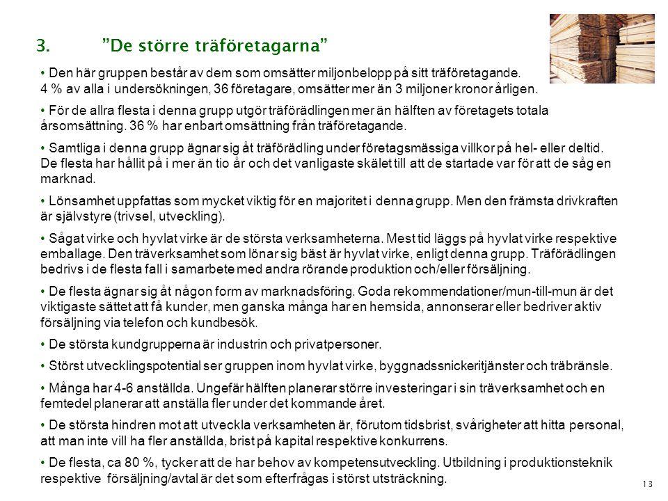 13 • Den här gruppen består av dem som omsätter miljonbelopp på sitt träföretagande. 4 % av alla i undersökningen, 36 företagare, omsätter mer än 3 mi
