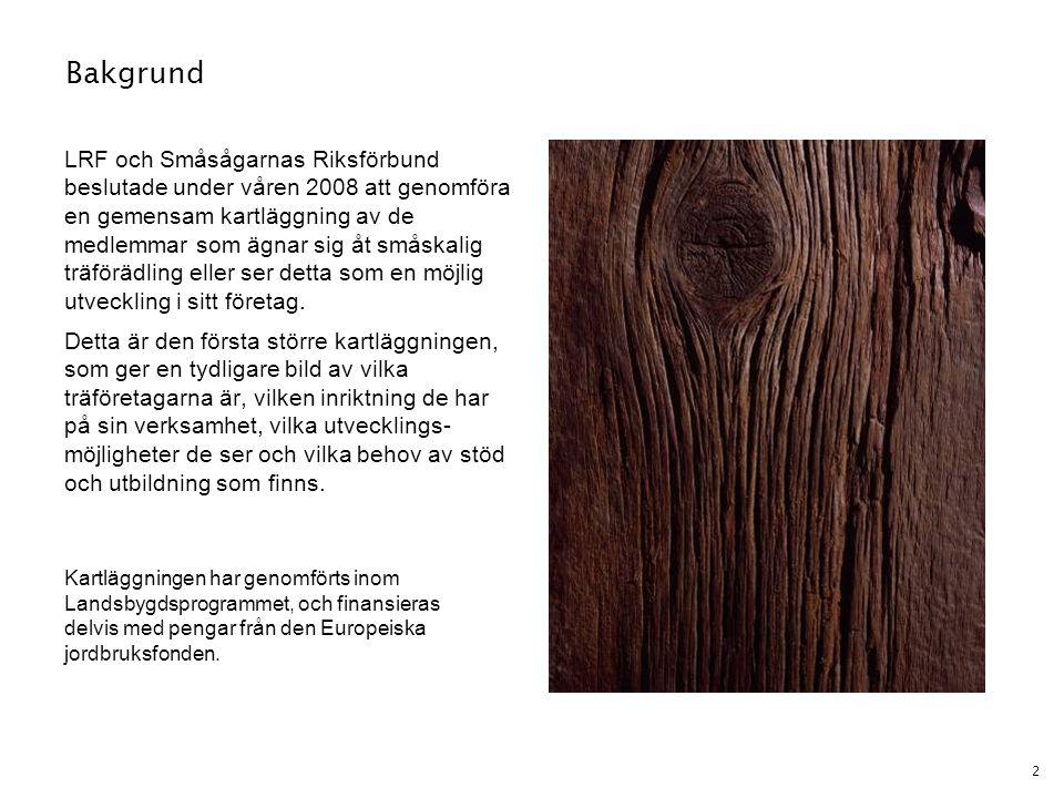 2 Bakgrund LRF och Småsågarnas Riksförbund beslutade under våren 2008 att genomföra en gemensam kartläggning av de medlemmar som ägnar sig åt småskali