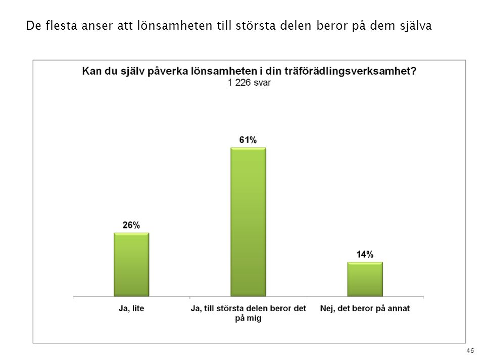 46 De flesta anser att lönsamheten till största delen beror på dem själva