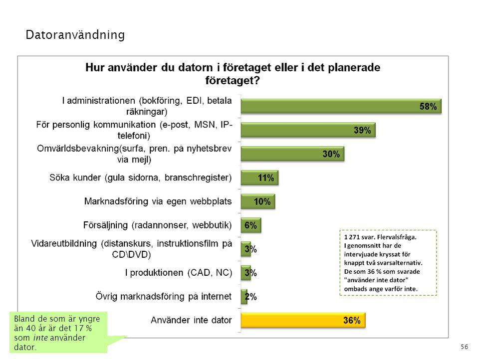 56 Datoranvändning Bland de som är yngre än 40 år är det 17 % som inte använder dator.