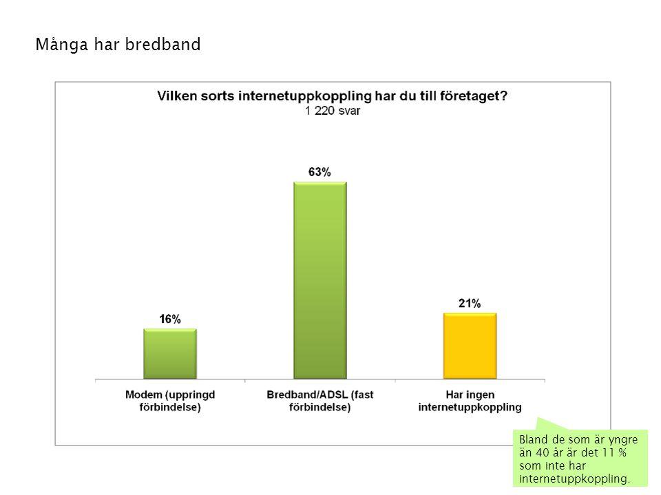 58 Många har bredband Bland de som är yngre än 40 år är det 11 % som inte har internetuppkoppling.