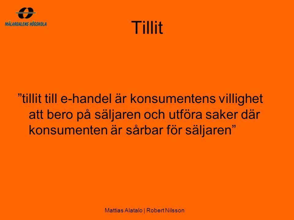 Tillit tillit till e-handel är konsumentens villighet att bero på säljaren och utföra saker där konsumenten är sårbar för säljaren Mattias Alatalo | Robert Nilsson