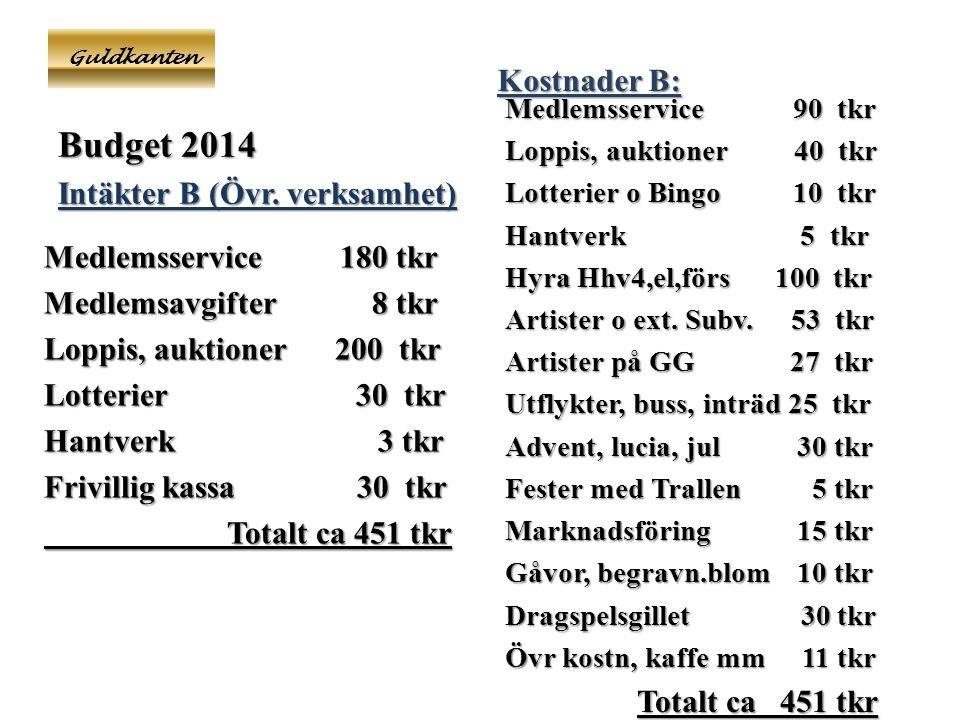 Guldkanten Budget 2014 Intäkter B (Övr.