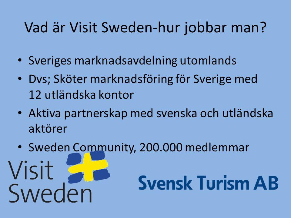 Vad är Visit Sweden-hur jobbar man? • Sveriges marknadsavdelning utomlands • Dvs; Sköter marknadsföring för Sverige med 12 utländska kontor • Aktiva p