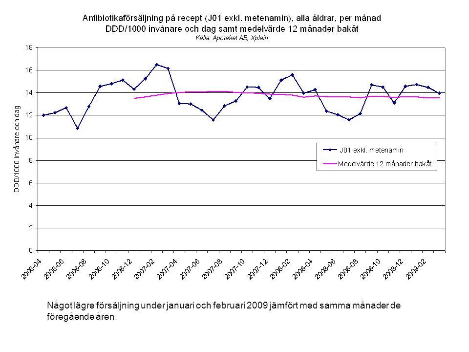 Något lägre försäljning under januari och februari 2009 jämfört med samma månader de föregående åren.